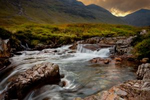 Glen Etive - Sunset Waterfall